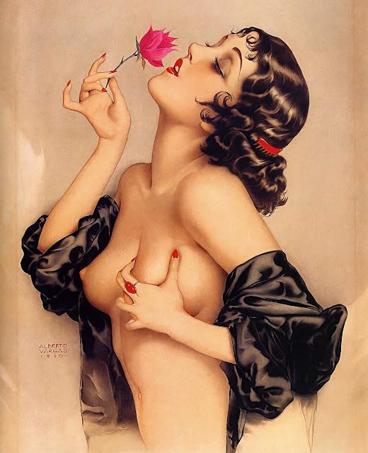 Alberto VARGAS - Ritratto di Olive Thomas - sex paintings - topless