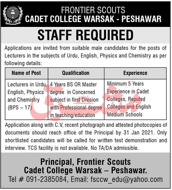 frontier-scouts-cadet-college-warsak-peshawar-jobs-2021-advertisement