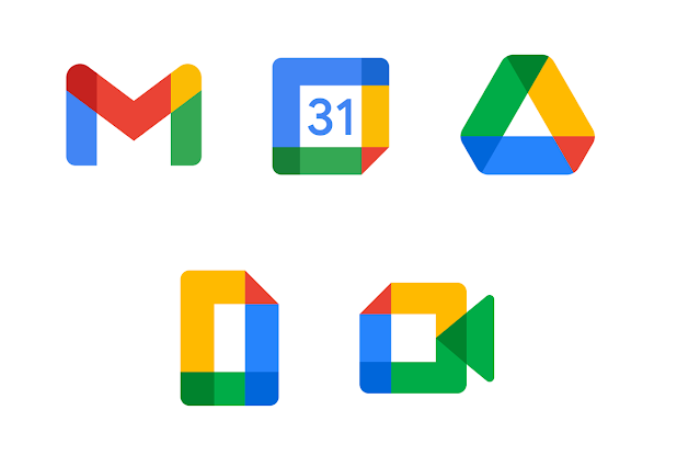 Google Workspace New Icon - Gmail - Calendar - Chat - Drive - Docs - Meet - Voice