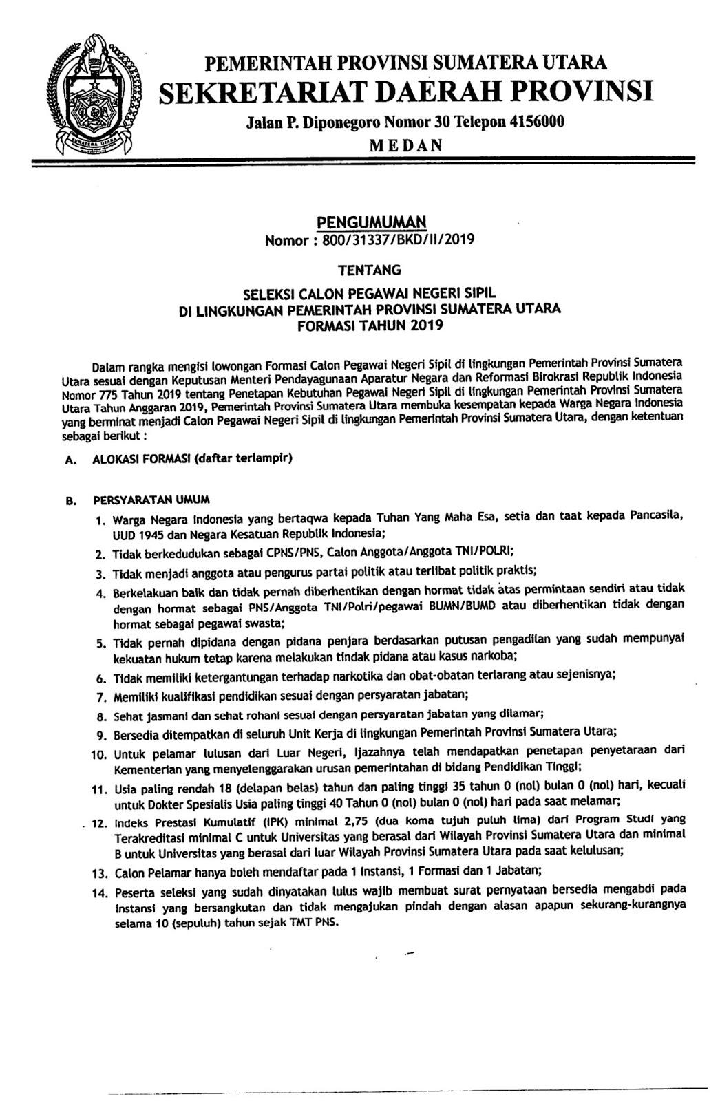 Lowongan CPNS Pemprov Sumatera Utara Tahun 2019 [306 Formasi]