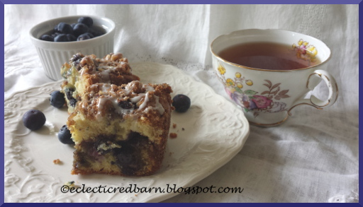 Eclectic Red Barn: Blueberries Coffee Cake with a Nut Streusel and Frosting
