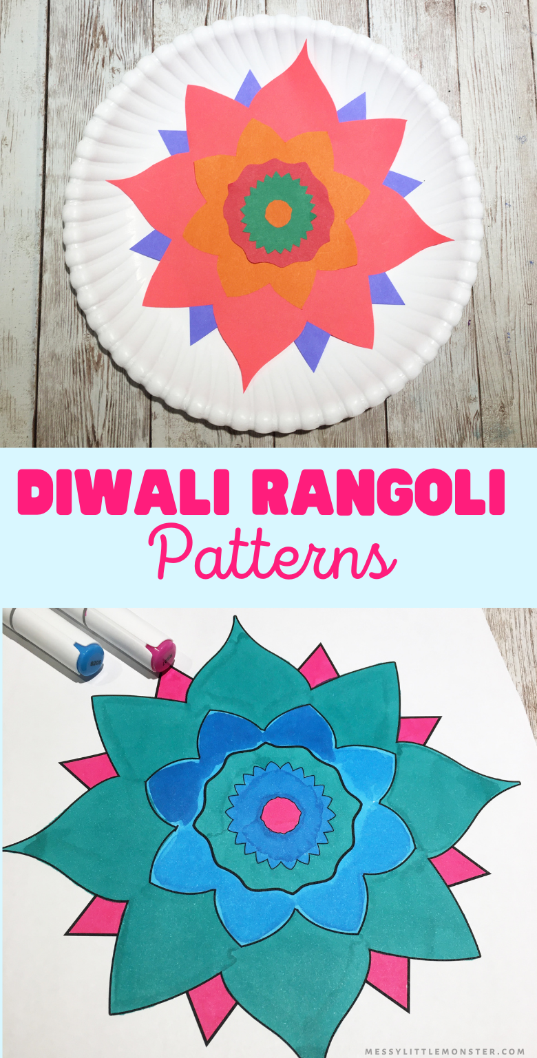Diwali craft for kids. Kids rangoli patterns colouring page and template.
