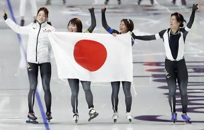 Japonesas da patinação de velocidade no gelo por equipe