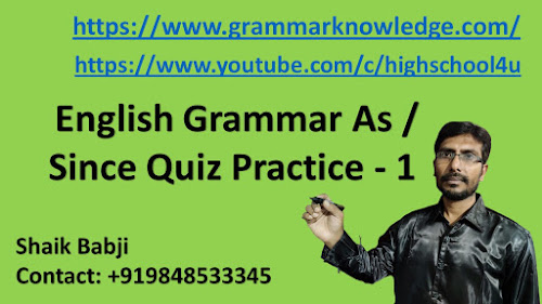 English Grammar As / Since Quiz Practice - 1