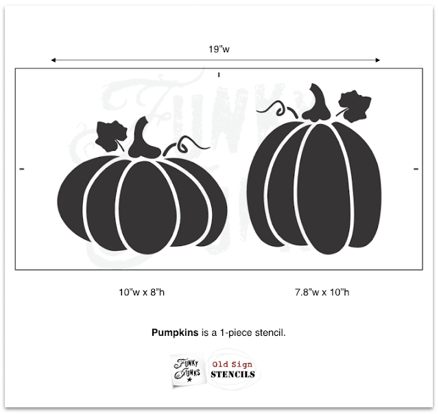 Photo of a pumpkin shaped stencil from Old Sign Stencils.