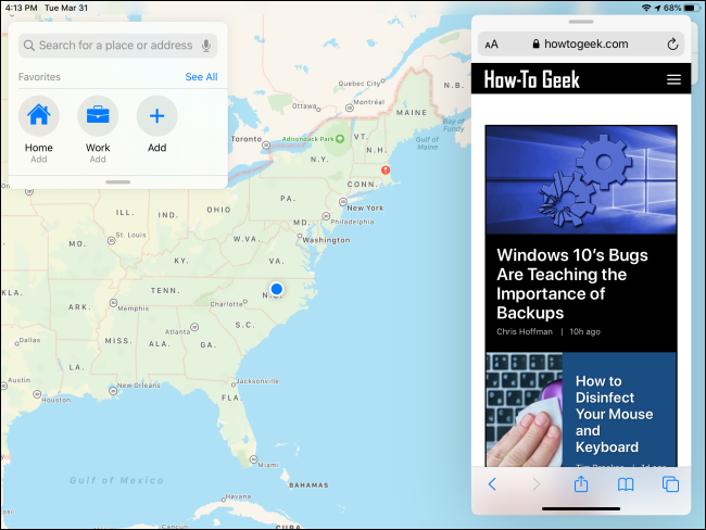 مثال على Slide Over على iPad