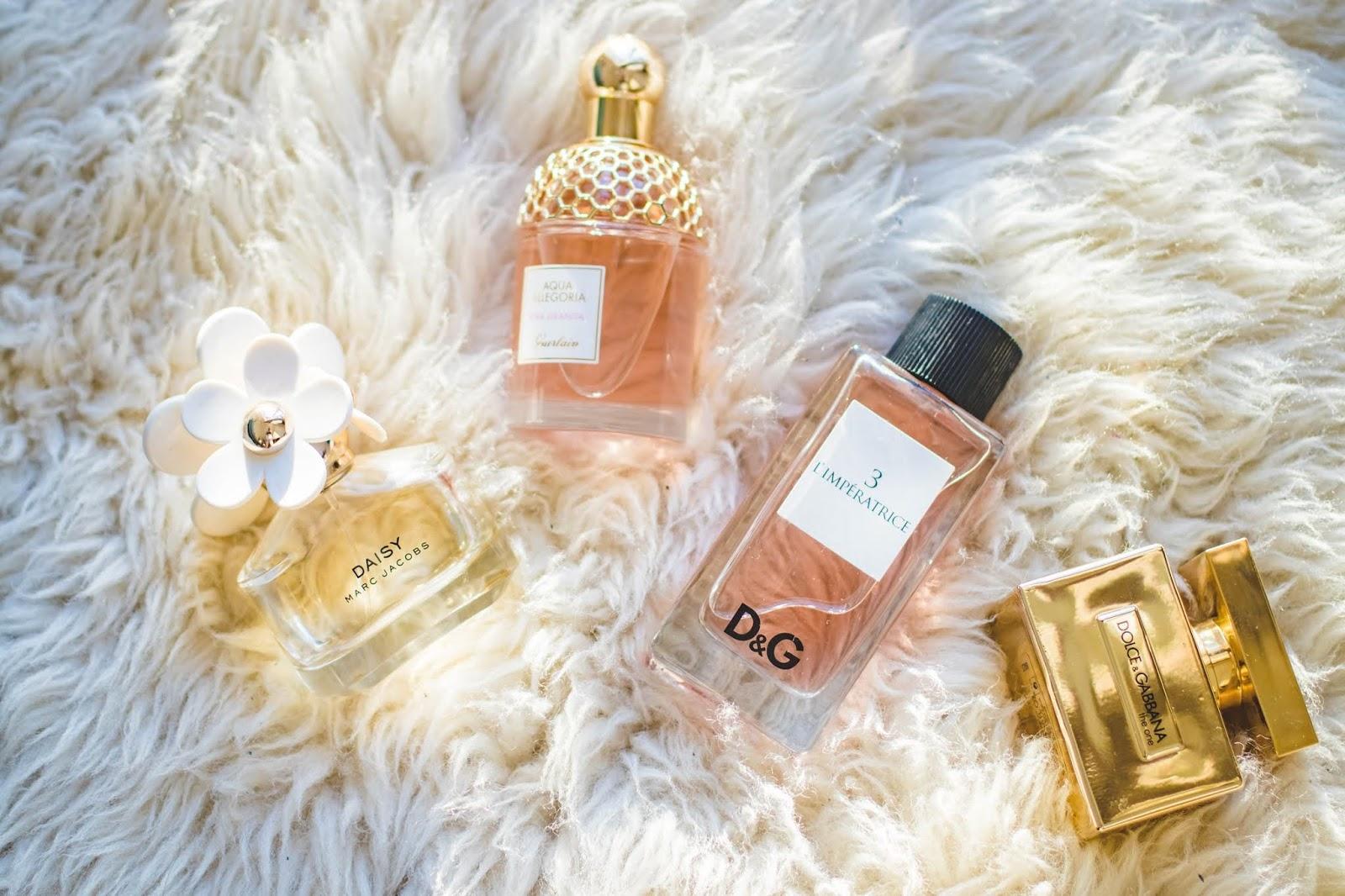 perfume bottles in a flat lay arrangement