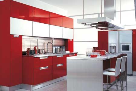 Decoraci n de cocinas en color rojo - Colores de pintura para cocinas modernas ...