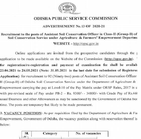 OPSC 92 Assistant Conservation Officer Recruitment 2021 Online Application Form  Orissa