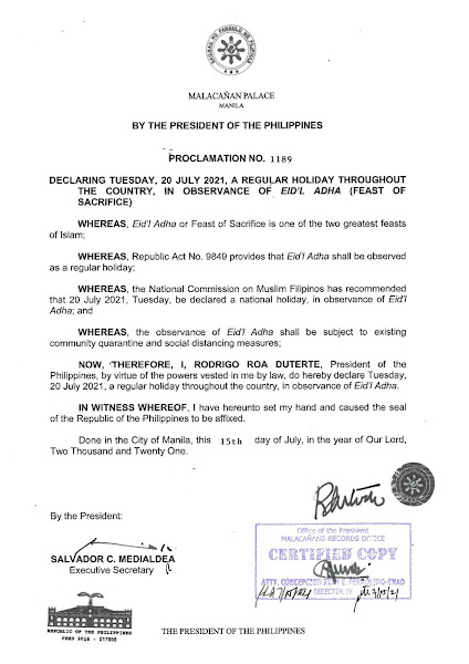 July 20, 2021 is a National Holiday in the Philippines