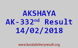 AKSHAYA Lottery AK 332 Results 14-02-2018