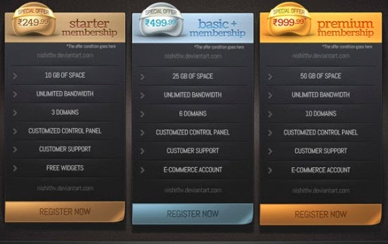 Pricing Table PSD Vol 2