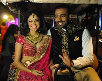 Robin Uthappa and Sheetal reached reception in e-rickshaw