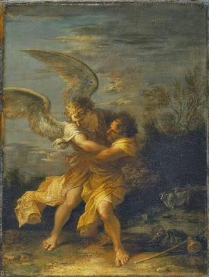 יעקב נאבק במלאך - סלבטור רוזה המאה ה-17, גלריית ברידג'מן דרבישייר אנגליה
