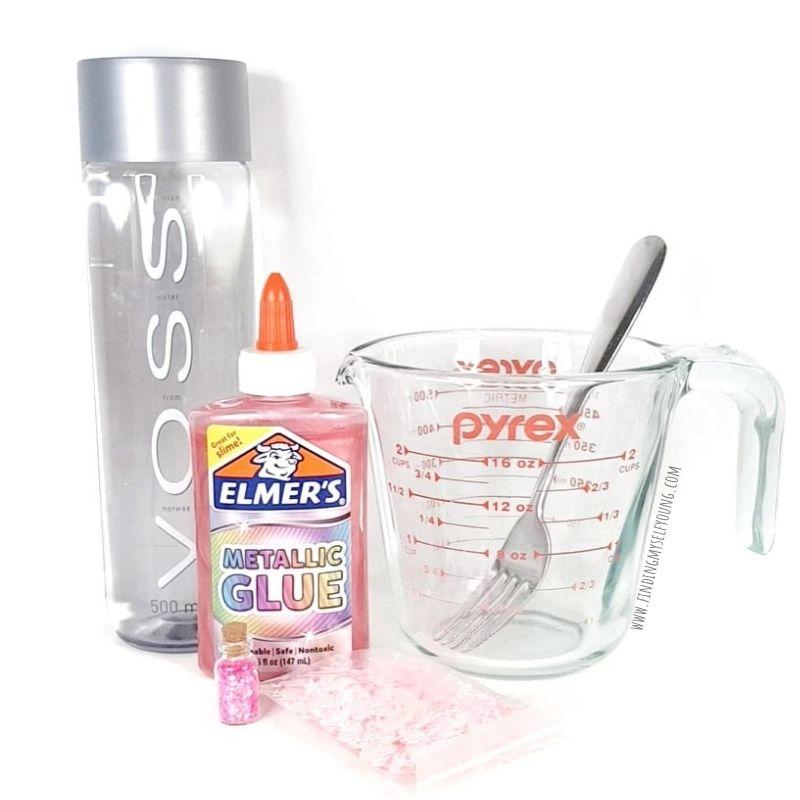 supplies to make a flamingo sensory bottle