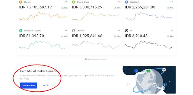 XLM Gratis dari Coinbase