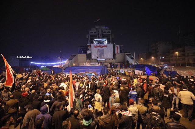 Iraqi protesters in Tahrir square