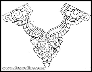 how to draw neck design patterns, blouse neck design drawing and sketch on