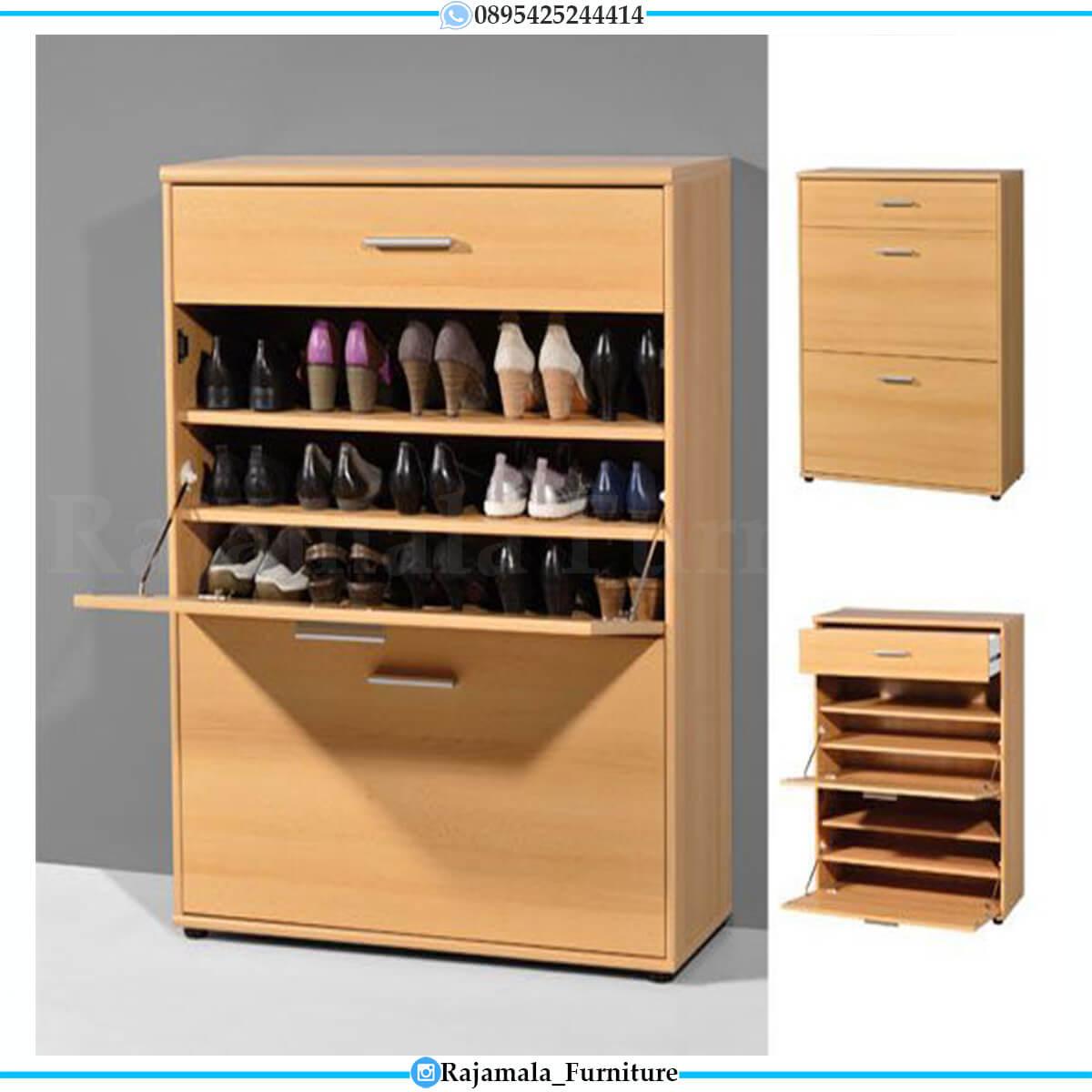 Rak Sepatu Kayu Jati Minimalis Modern Luxury Design Jepara RM-0563