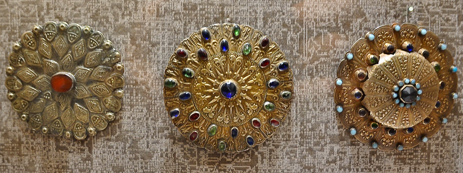 Three jewellery pieces in the Museum of the Jewelllery in Vicenza