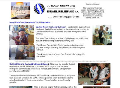 Israel Relief Aid November 2016 Newsletter