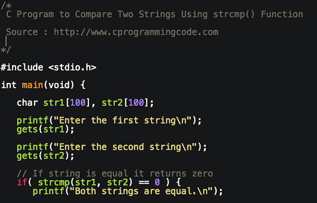 C Program to Compare Two Strings Using strcmp() Function
