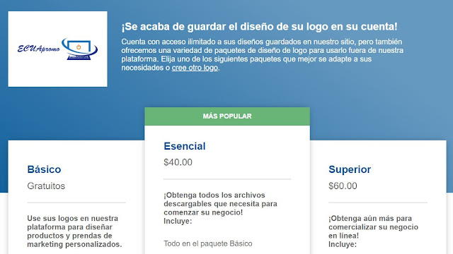 Free Logo Services:  Una interfaz muy similar a la anterior, brinda la posibilidad de poder colocar tu logotipo en piezas publicitarias.    Aunque cuenta con un plan gratuito la descarga útil del mismo empieza desde $40.