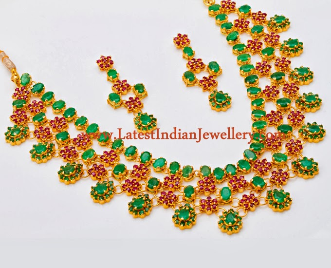 Latest Ruby Emerald Necklace Set
