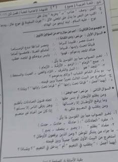 ورقة امتحان اللغة العربية الصف الثالث الاعدادى محافظة اسوان الترم الثانى 2017