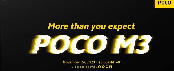 Xiaomi Poco M3 apresentado no dia 24 de Novembro