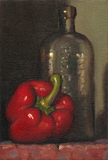 Still life oil painting of a red pepper beside an antique glass bottle.