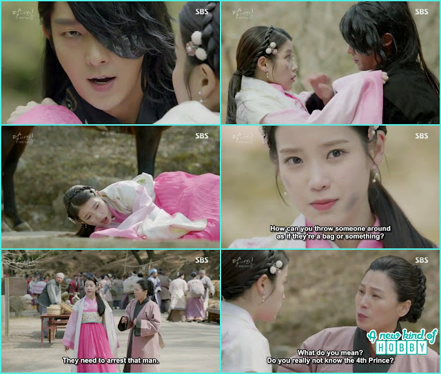 4th prince drop hae so from the horse after saving her - Moon Lovers: Scarlet Heart Ryeo - Episode 2 Review