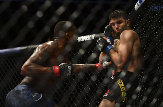 Thiago Moises tagged by Michael Johnson UFC on ESPN+ 29