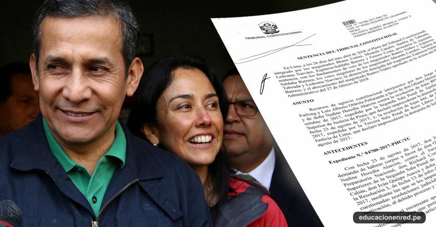 Tribunal Constitucional ordena la liberación del expresidente Ollanta Humala y Nadine Heredia