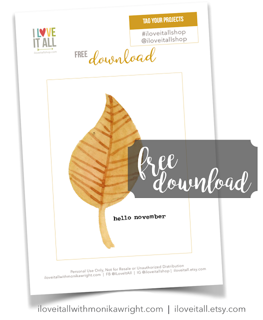 #free #printable #hello #November #hello November #journaling card #leaf #fall #autumn