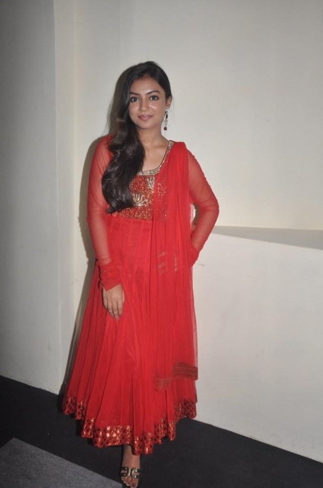 Beautiful Indian Queen Nazriya Nazim Long Hair Stills In Red Dress