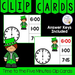Time to the Five Minutes Clip Cards Leprechaun Themed