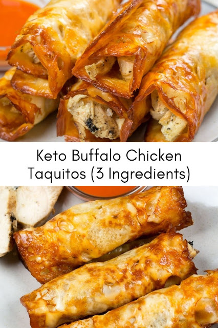 Keto Buffalo Chicken Taquitos (3 Ingredients)
