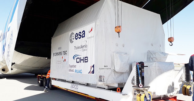 The platform destined to land on the Red Planet as part of the next ExoMars mission arrived in Europe for final assembly and testing on 19 March 2019.  Kazachok left Russia after being carefully packed to meet planetary protection requirements, making sure to not bring terrestrial biological contamination to Mars. It was shipped to Turin, Italy, on an Antonov plane along with ground support equipment and other structural elements. Credit: Roscosmos