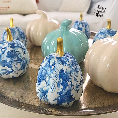 mix and match faux pumpkins decor