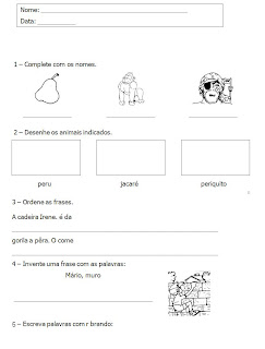 Atividades 2° ano - Atividades de Alfabetizaçao - Complete os nomes - Ordene as Frases
