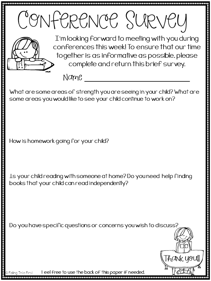 Falling into first parent teacher conference prep for Conference survey template