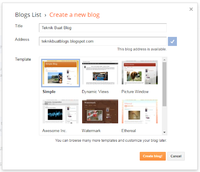 Cara Buat Blog Di Blogspot