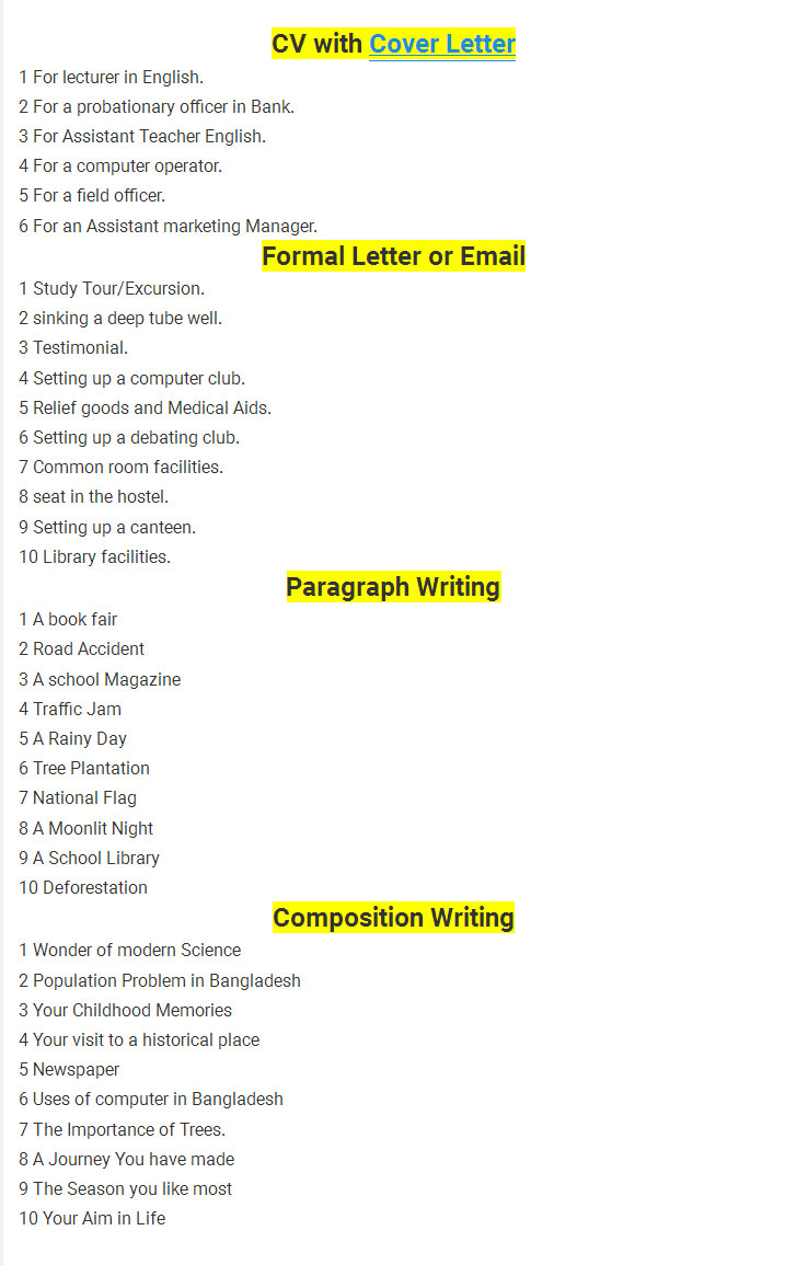 SSC English 2nd Paper Final Suggestion 2018