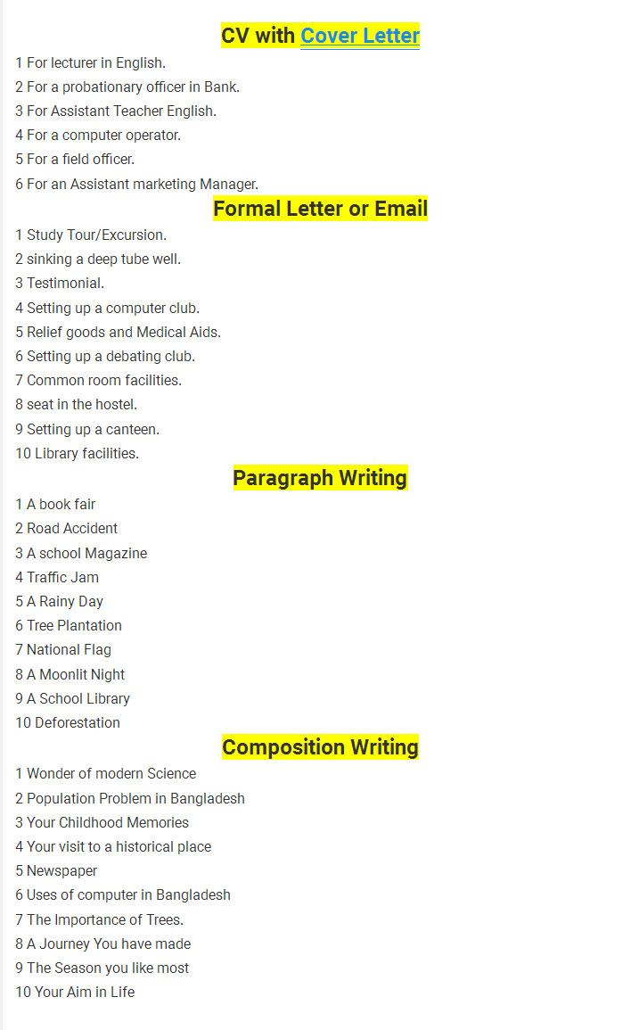 SSC English 2nd Paper Final Suggestion 2018