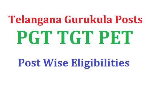 TS Gurukula PGT TGT PET Post wise Eligibility Details | TSPSC Gurukula Societies PGT TGT PET etc Posts Recruitment Notification PGT Eligibility TGT Eligibility other Posts Eligibility Criteria Download Telangana Gurukula Schools PGT TGT Rectuitment Notification 2017 Eligibility Details Download ts-gurukula-pgt-tgt-pet-post-wise-eligibility-criteria