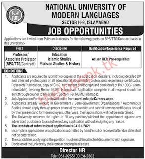 National University Of Modern Languages NUML Jobs 2021 Latest