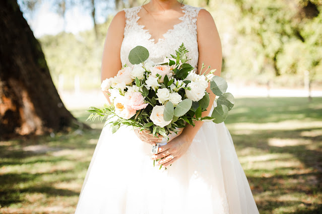 soft green and white bridal bouquet