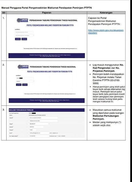 PTPTN, Peminjam PTPTN, Mohon Kemaskini Maklumat Sebelum 25 Julai 2018, Cara Mengemaskini Maklumat Pendapatan Peminjam PTPTN, tarikh akhir kemaskini akuan pendapatan peminjam ptptn, ptptn 2018, cara tangguh bayaran balik ptptn, info ptptn,