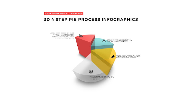 4 Step 3D Pie Chart Design Elements for PowerPoint Templates